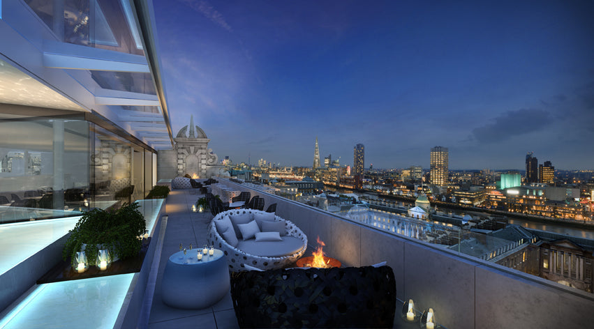 Radio Rooftop Bar with its fantastic panoramic views from the top of ME Hotel, London.
