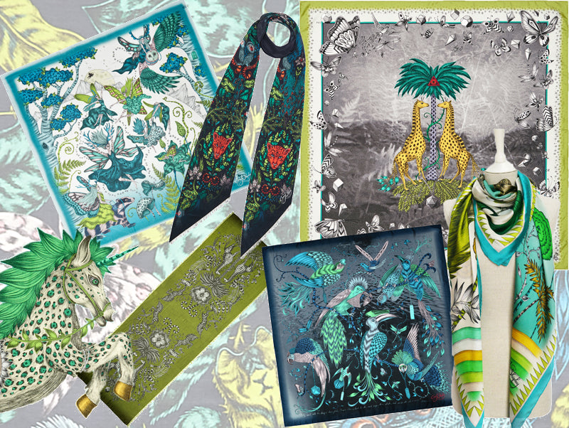 Shop the Emma J Shipley scarf collection by colour: green is of our most loved hues and one of the easiest way to embrace the beauty of nature in your wardrobe