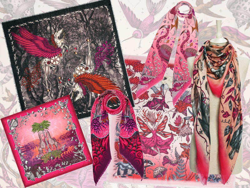 A beautiful selection of silk and wool scarves by Emma J Shipley, in all shades of pink...