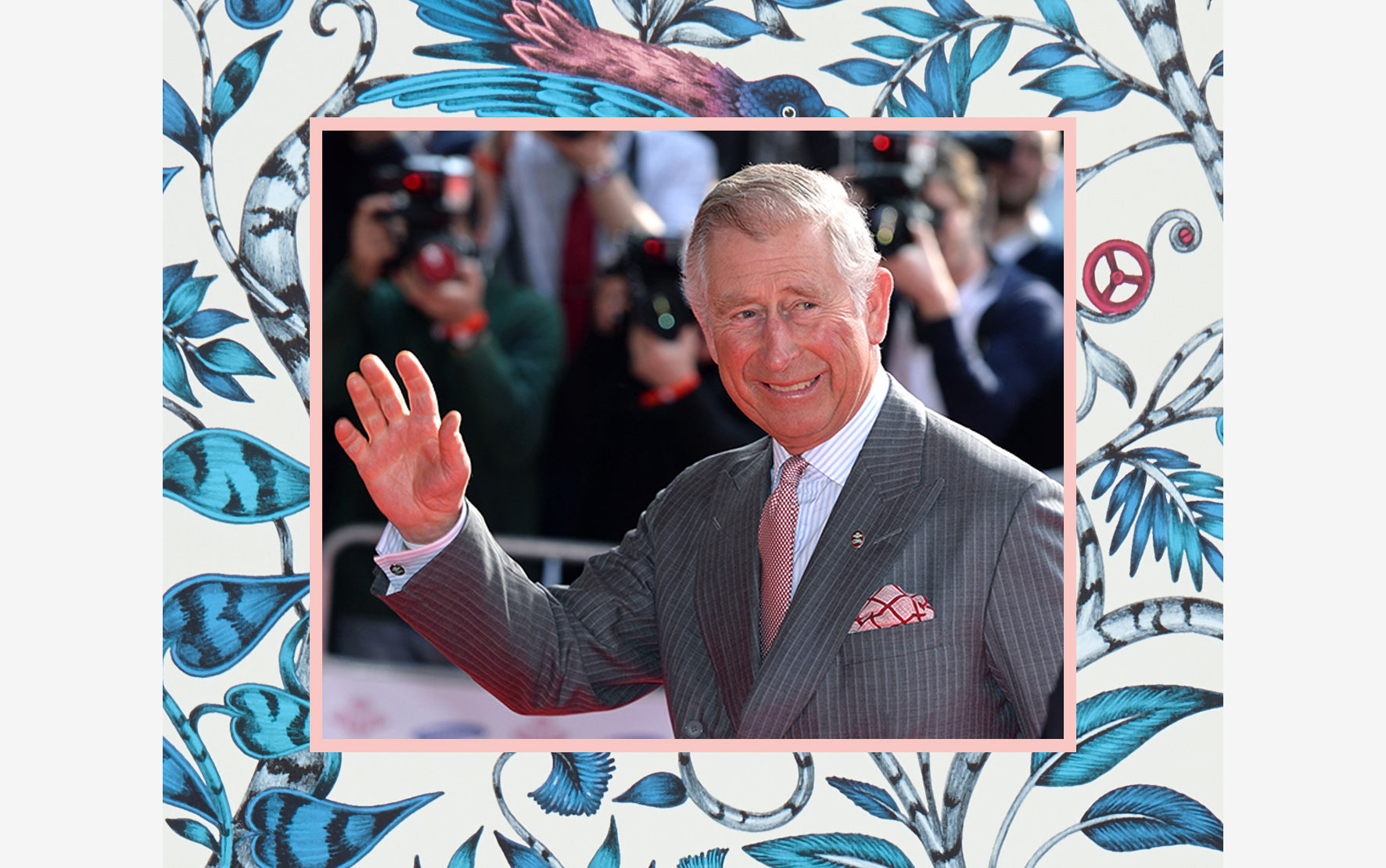 Prince Charles loves to mix and match his prints and colours - Emma J Shipley silk pocket squares are the perfect way to introduce Charles' charming style to any suit jacket