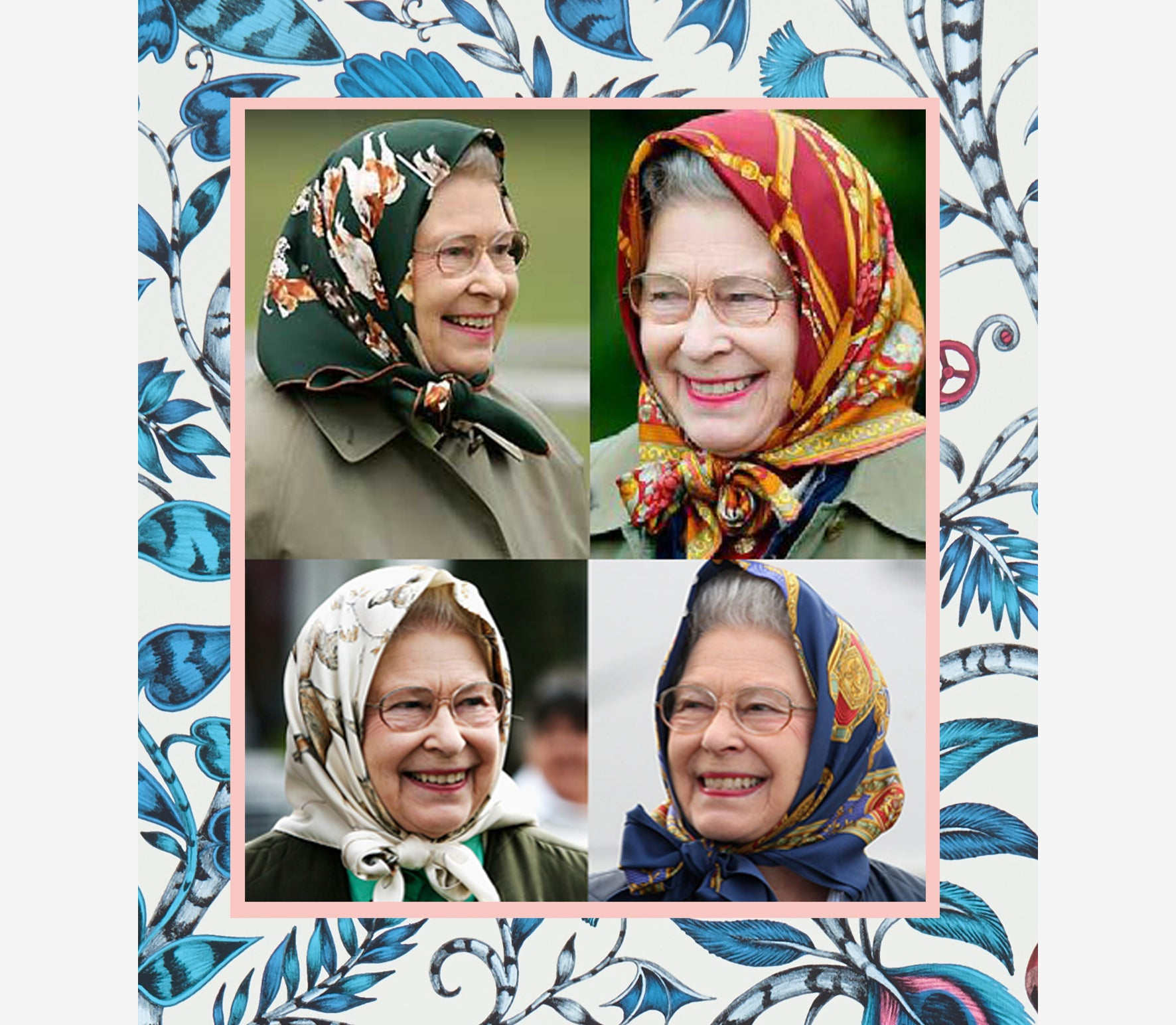 Take inspiration from Her Majesty The Queen with your scarf styling this season. Use one of Emma J Shipley's hand drawn, fantastical silk scarves to achieve the same iconic head scarf look