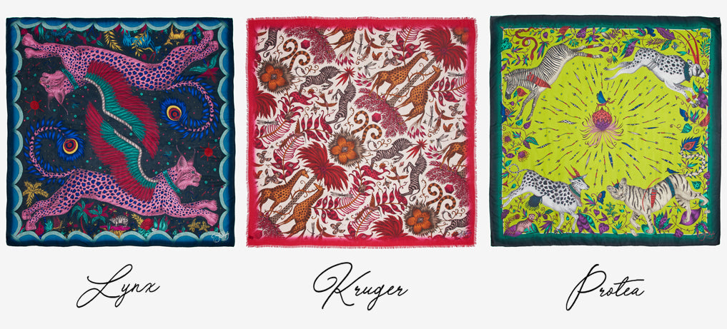 Discover the origins of the three enchanting Wilderness scarf designs: Lynx, Kruger and Protea - all hand drawn by designer Emma J Shipley