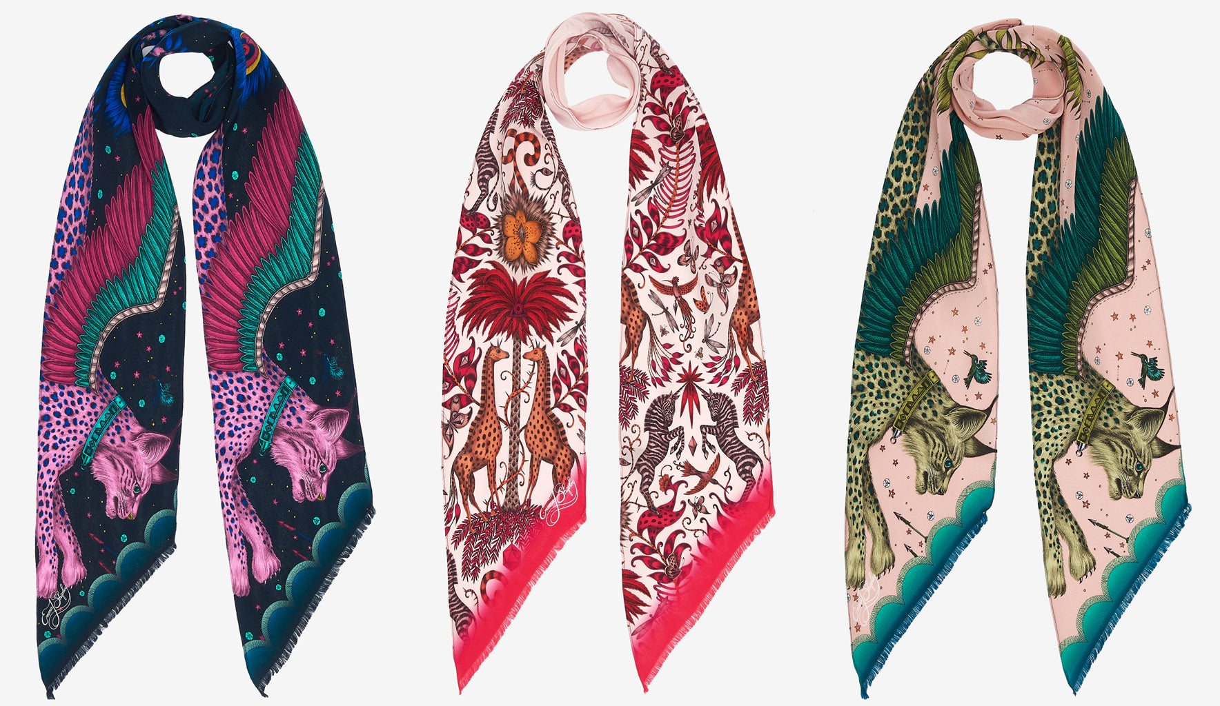 Emma J Shipley's new season silk skinny scarves feature an array of part real, part imaginary creatures within a surreal, hand drawn realm. Here you can see the Lynx Silk Skinny Scarf in navy and pink, and the Kruger silk skinny scarf.