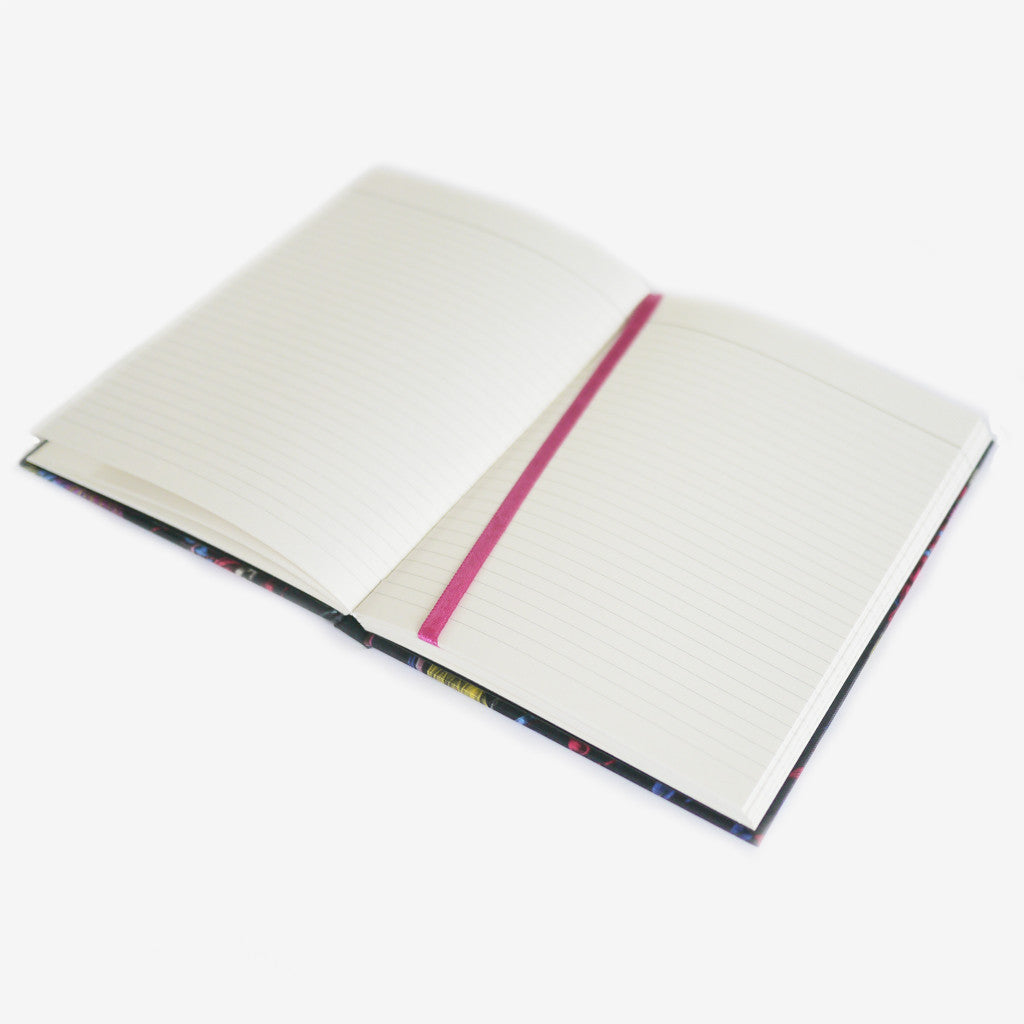 Each notebook comes with a coloured silk bookmark, filled with luxurious cream lined paper