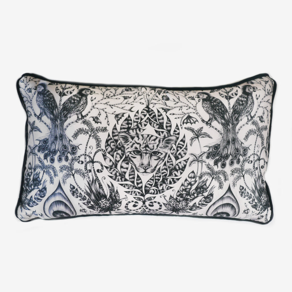 The Amazon Double Bolster Cushion features jaguars hidden amongst foliage and playful parrots in the trees.