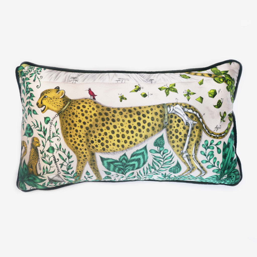The Cheetah Bolster Cushion, by luxury designer and illustrator Emma J SHipley