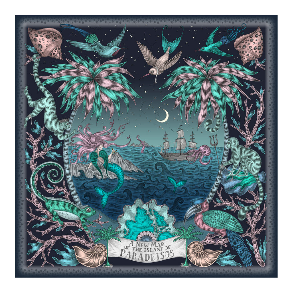 Sirens Small Print By Emma J Shipley Tote Blue The Sea Themed Is Framed Animalistic Palm Trees