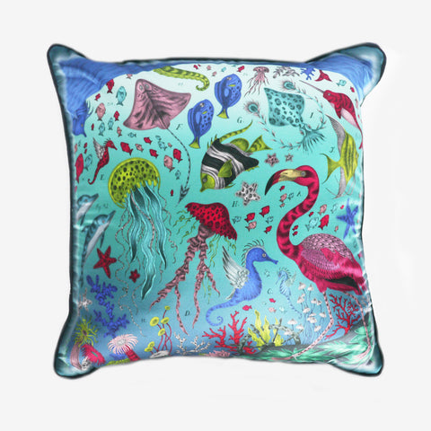 The Neptune Cushion in turquoise, by luxury designer and illustrator Emma J Shipley.