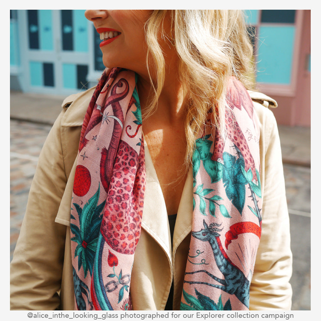 a close up shot of the Zambezi fine wool shawl in pink from the campaign shoot for the new explorer collection