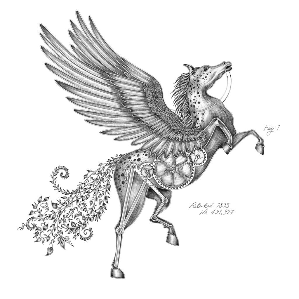 The majestic Pegasus print by luxury designer and illustrator Emma J Shipley, featuring a magnificent winged horse with clockwork body elements.