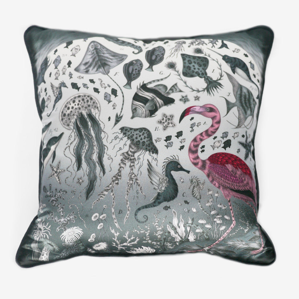 The Neptune Cushion in grey, by luxury designer and illustrator Emma J Shipley.