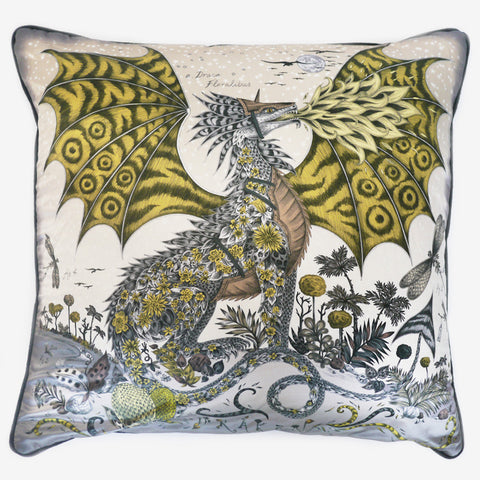 The Drakon Large Cushion, by luxury designer and illustrator Emma J Shipley.