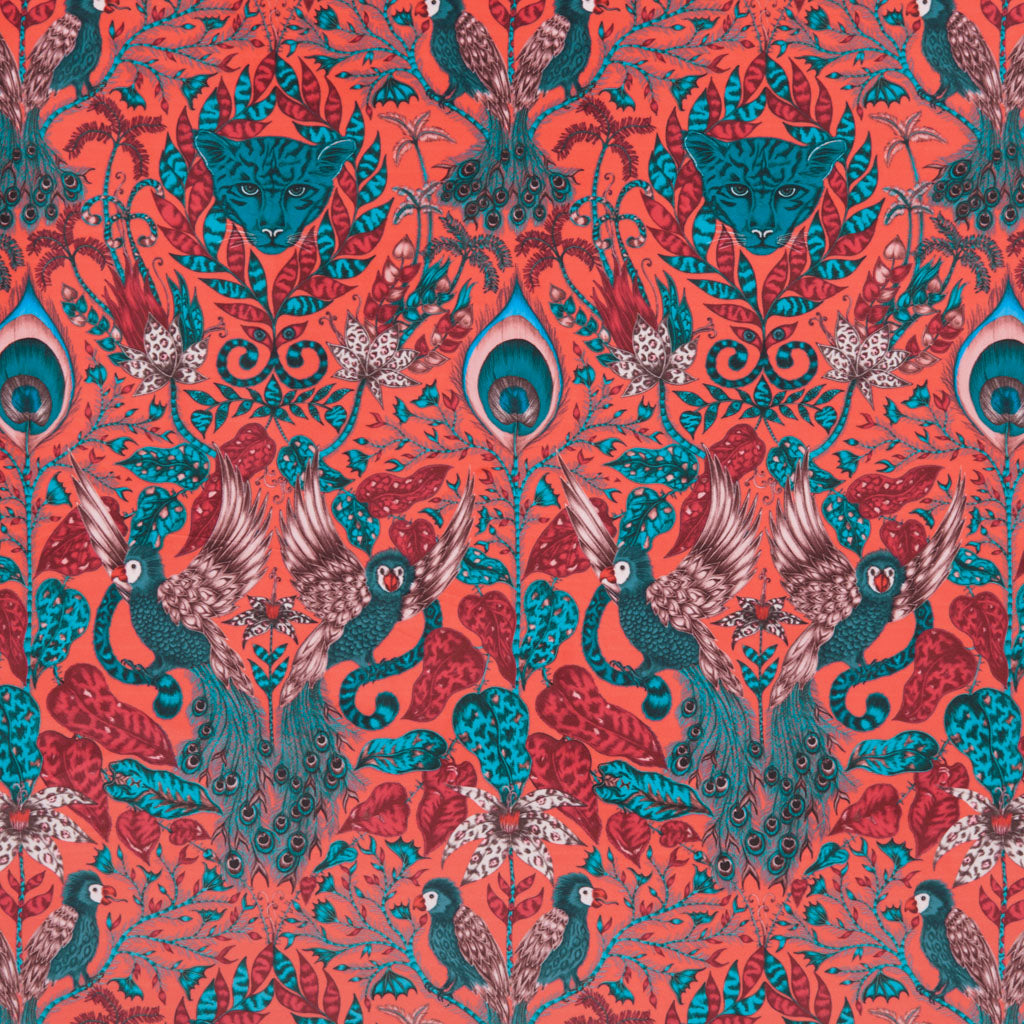 Add opulence to your home with the vibrant red Amazon red velvet fabric design made in collaboration with Clarke & Clarke and Emma J Shipley from the Animalia range