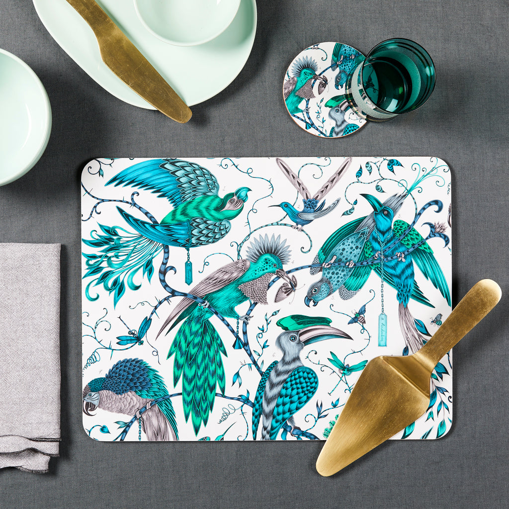The Audubon dining delights by Emma J Shipley in collaboration with Jamida. The coaster and placemat make a stunning addition to your table setting