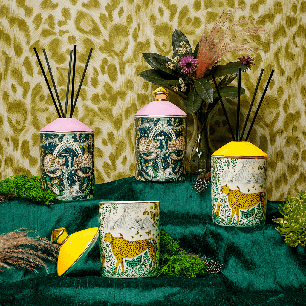 A group picture of the new Home Fragrance collection by Emma J Shipley with Bahoma - featuring the Wonder World Candle