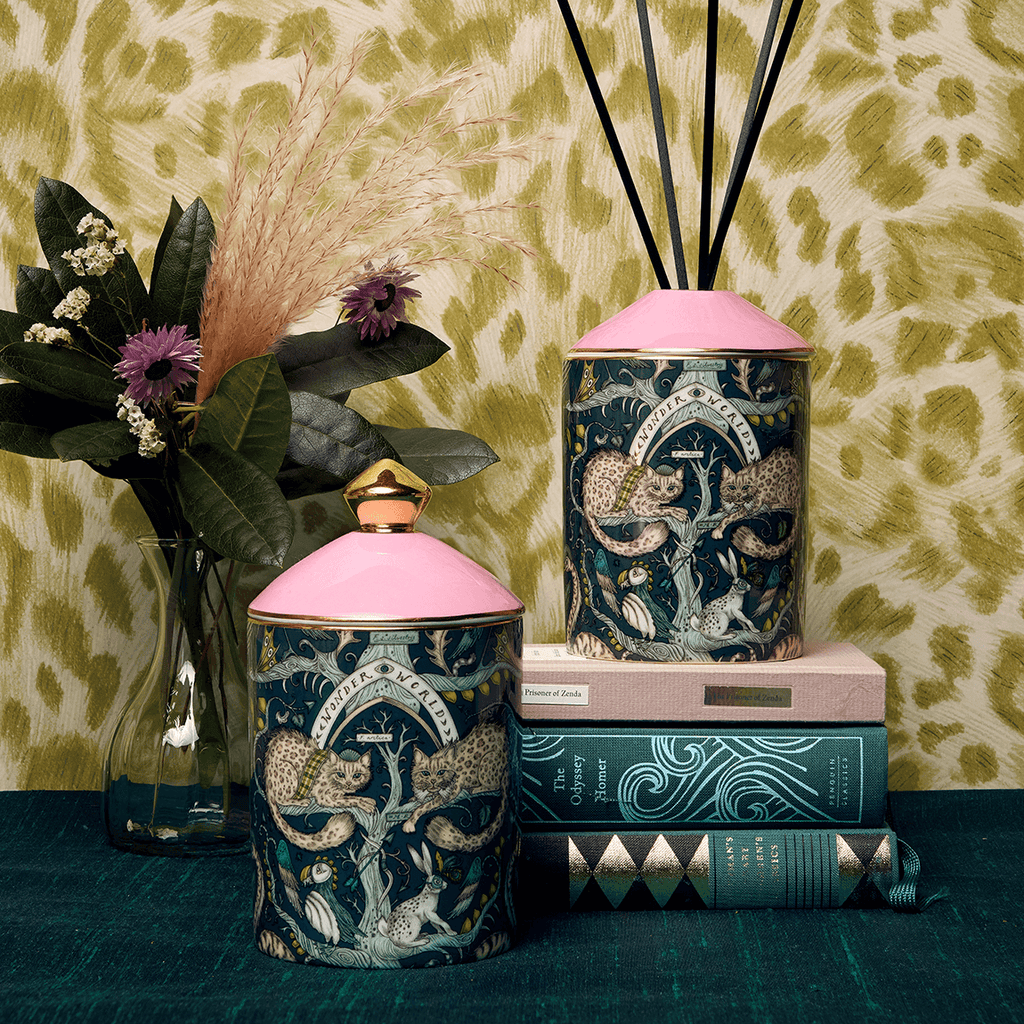 The Wonder World Candle features animals from the Scottish highlands on the front of the vessel as well as real gold details, the scent is Bluebell with Musk base notes