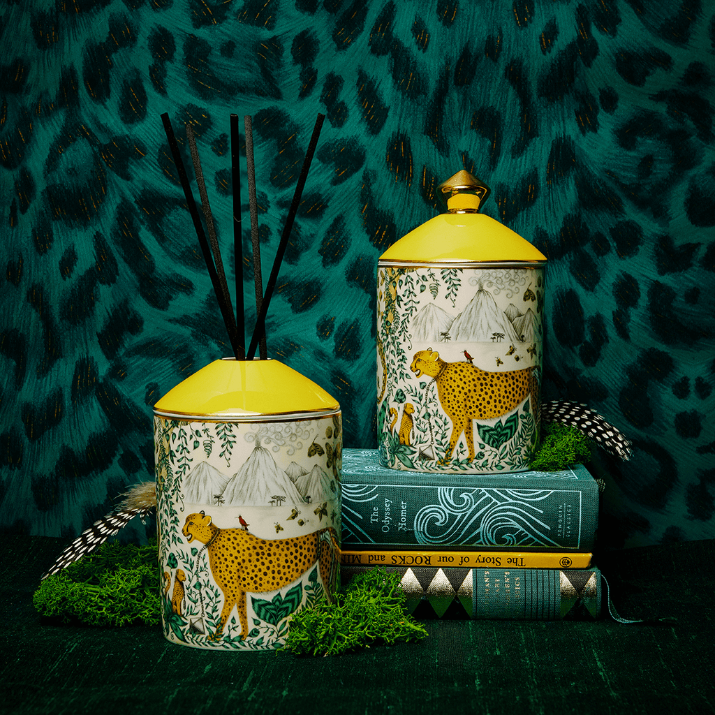 The Cheetah Candle features the animal on the front of the vessel as well as real gold details, the scent is Lemon & Grapefruit zest with vetiver