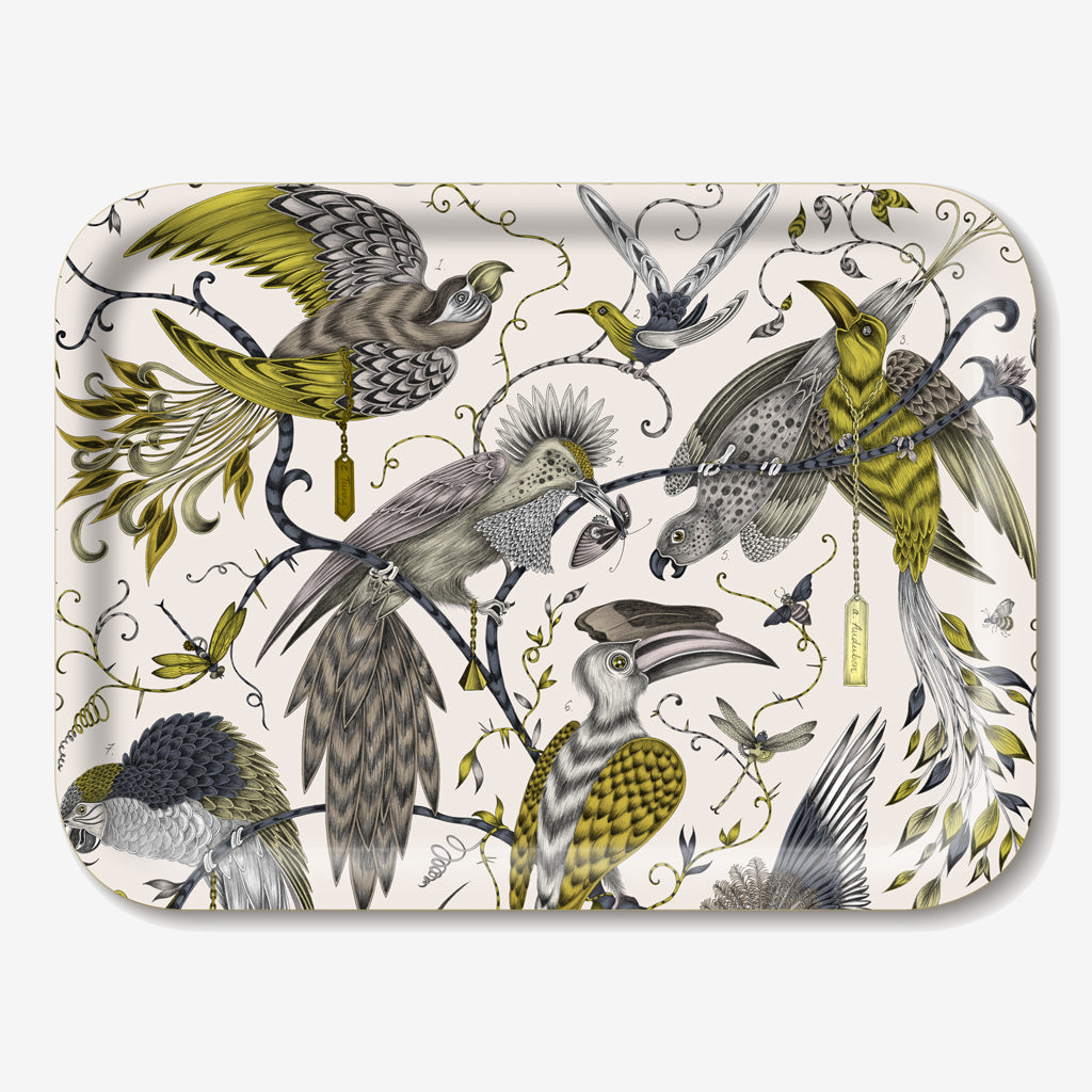 The gold Audubon Tray features a beautiful selection of majestic birds, hand-drawn by designer Emma J Shipley