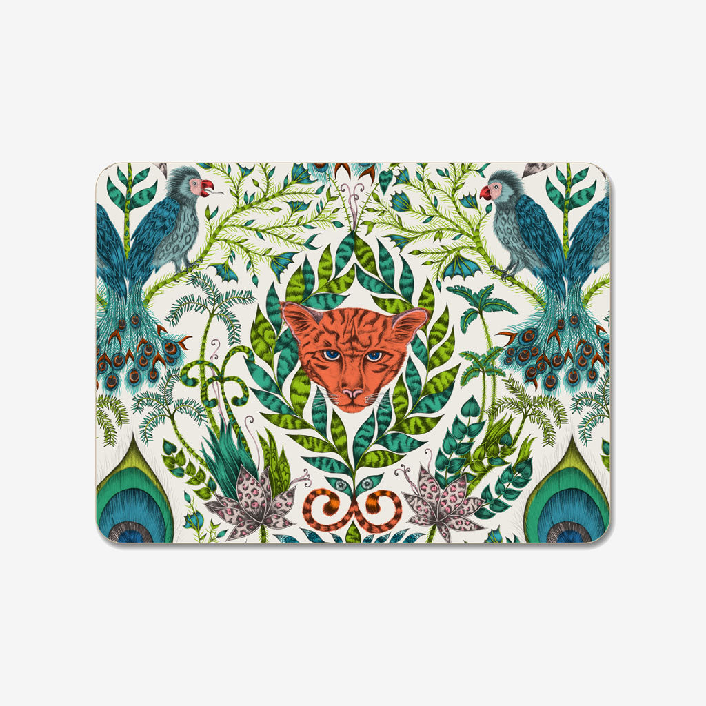 The Medium Amazon Placemat designed by Emma J Shipley in collaboration with Jamida features a curious jaguar, fantastical birds and tropical plants