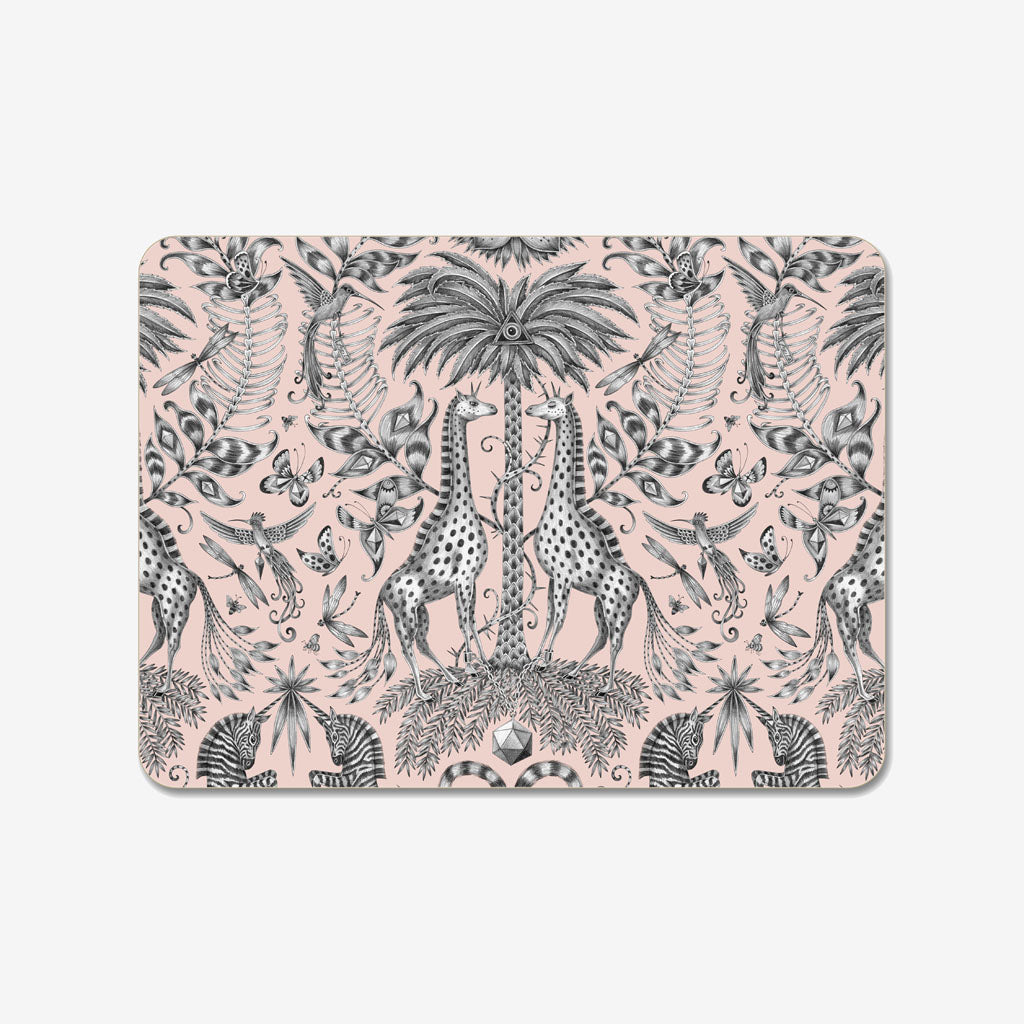 The beautiful Kruger Placemat designed by Emma J Shipley featured a stunning array of safari creatures upon a glossy pink placemat, created in collaboration with jamida
