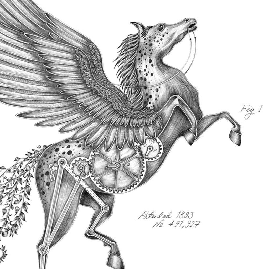 The majestic Pegasus print by luxury designer and illustrator Emma J Shipley is inspired by ancient myths and legends.