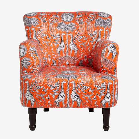 Front view of the Kruger Dalston Chair by Emma J Shipley for Clarke & Clarke is a stunning armchair which makes a bold statement in your interior