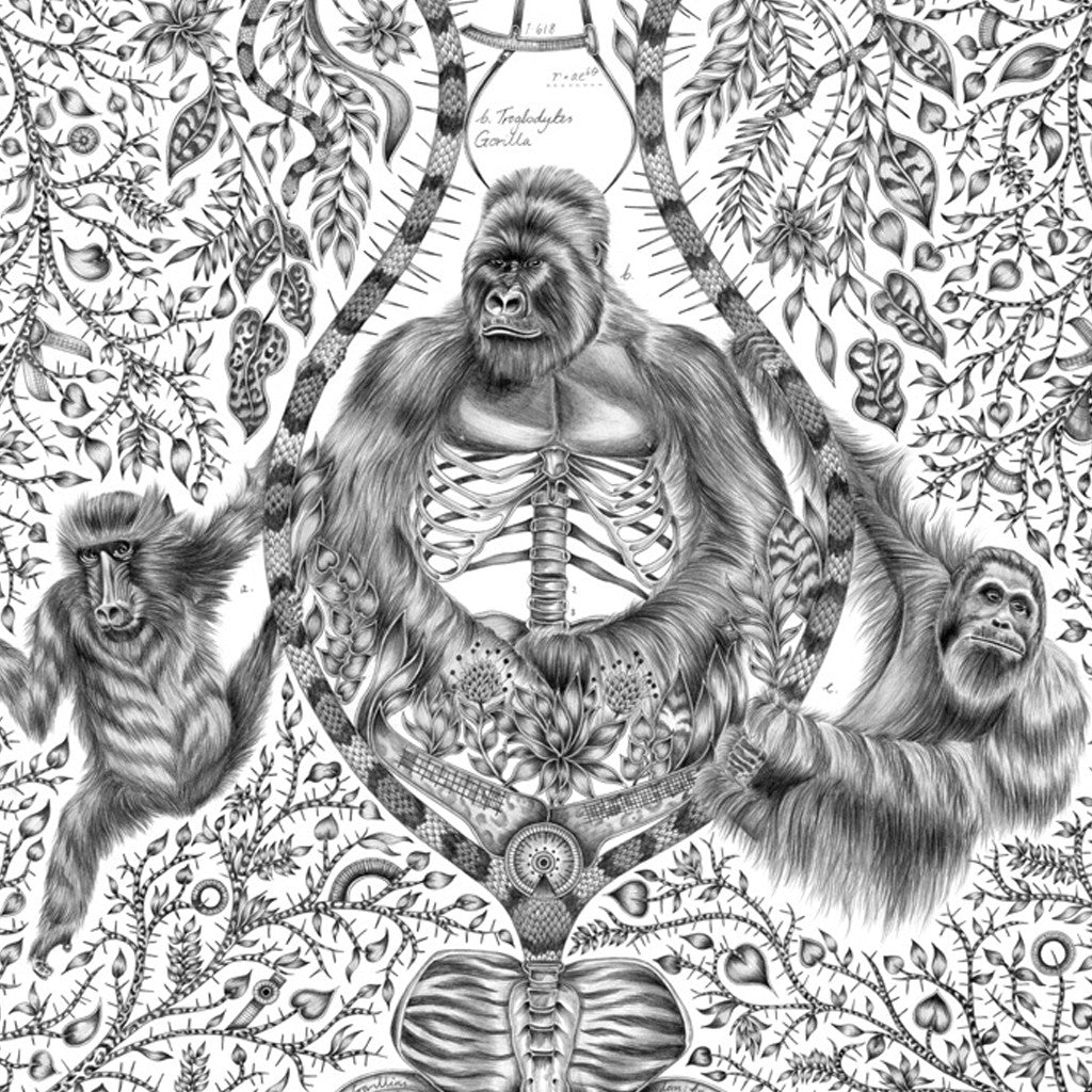 The Silverback large print by Emma J Shipley features a mountain gorilla with exposed ribcage details, referencing the endangered species and how we need to protect them.