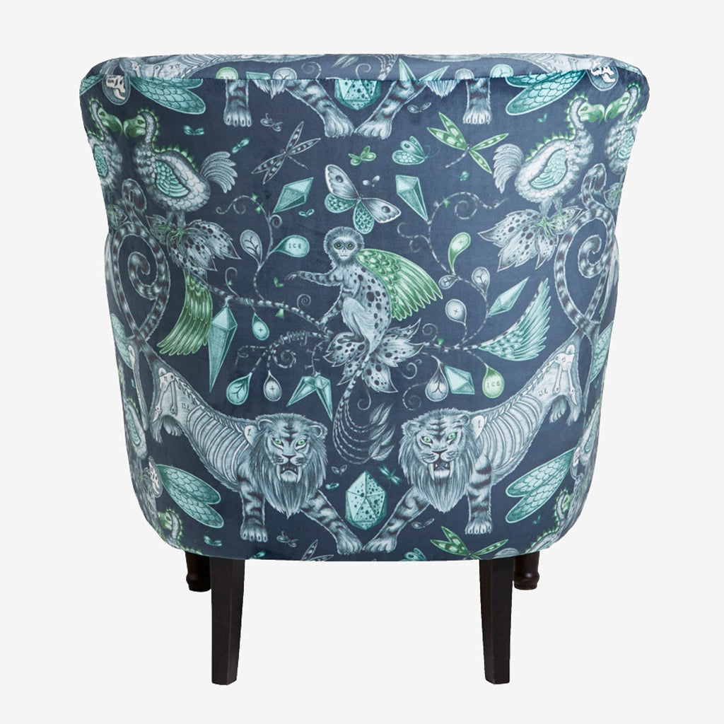 Back view of the Extinct Dalston Chair from our fantastical furniture range with Clarke & Clarke, the Extinct Dalston Chair is upholstered with our best selling velvet from the Animalia range