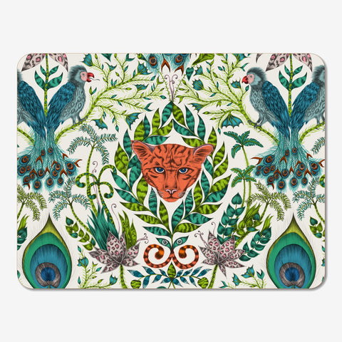 The stunning Amazon Placemat designed by Emma J Shipley in collaboration with Jamida features a prowling jaguar and fantastical birds