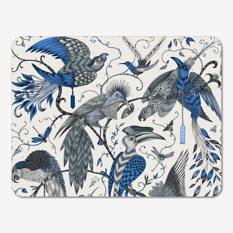 A flock of fantastical birds designed by Emma J Shipley upon the Audubon Placemat, made in collaboration with Jamida