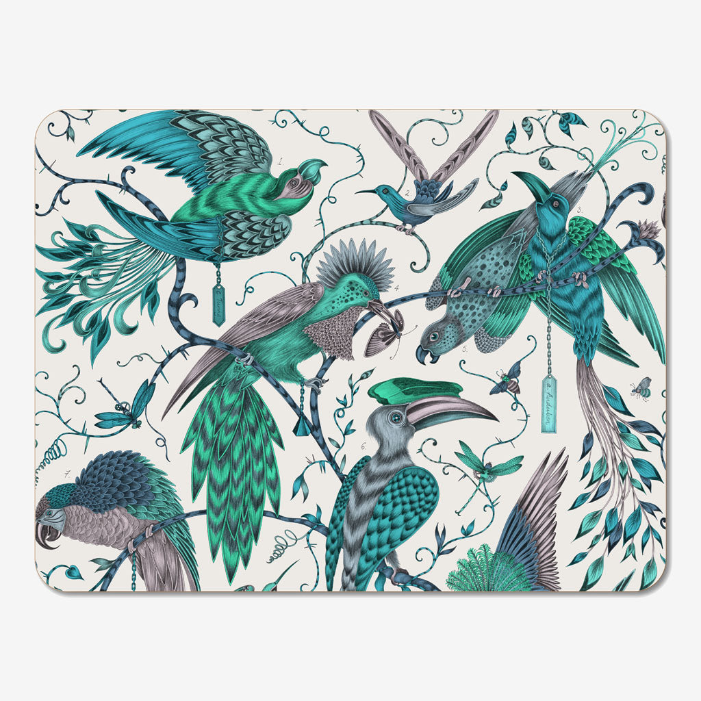 The green Audubon placemat designed by Emma J Shipley in collaboration with Jamida