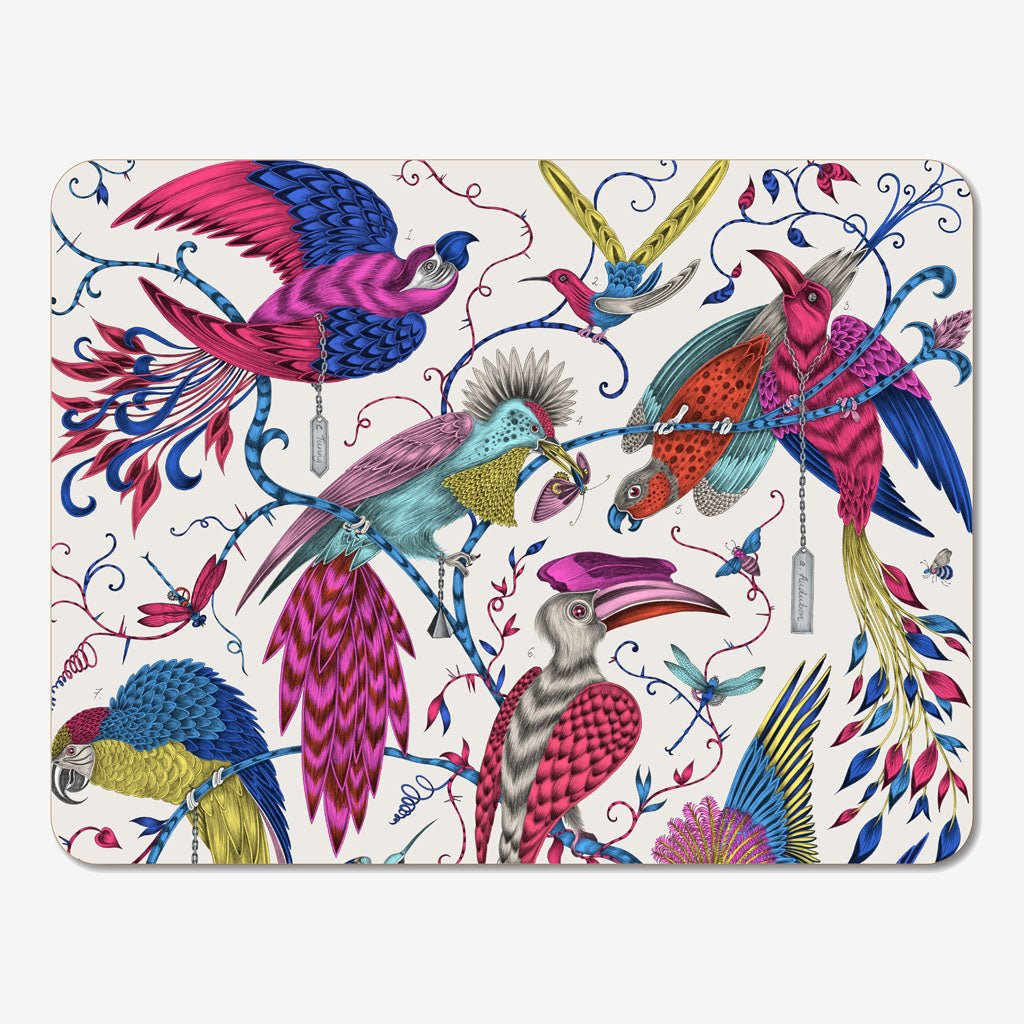 The fantastical magenta Audubon Placemat designed by Emma J Shipley in collaboration with Jamida