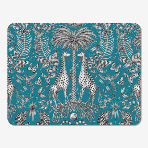 The Kruger Placemat designed by Emma J Shipley features 2 magnificent giraffes amid a beautiful safari scene