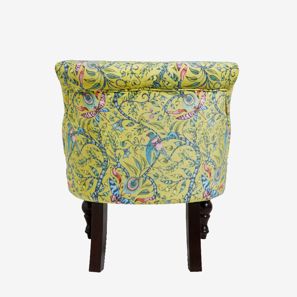 The back view of the Rousseau Langley Chair. The Animalia collection fabric designs appear on Emma J Shipley for Clarke & Clarke's new furniture range