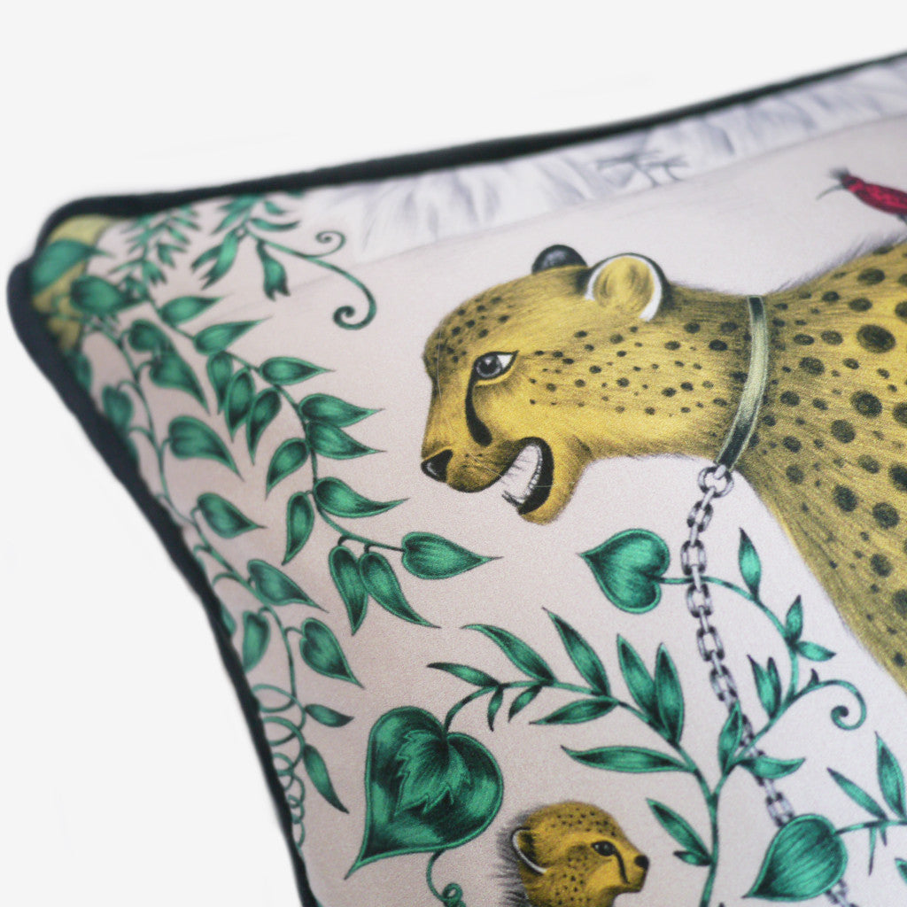 The signature Cheetah design is printed onto silk and cotton fronted cushion,