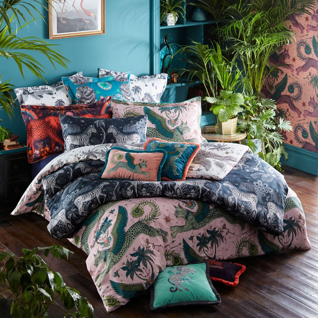 Emma J Shipley's printed Caspian square pillowcase, is an exotic creation that will add a fantastical twist to your bed in an instant. The deep Teal colour makes a great pillow to use on its own or to stack and layer along with other cushions and pillows.
