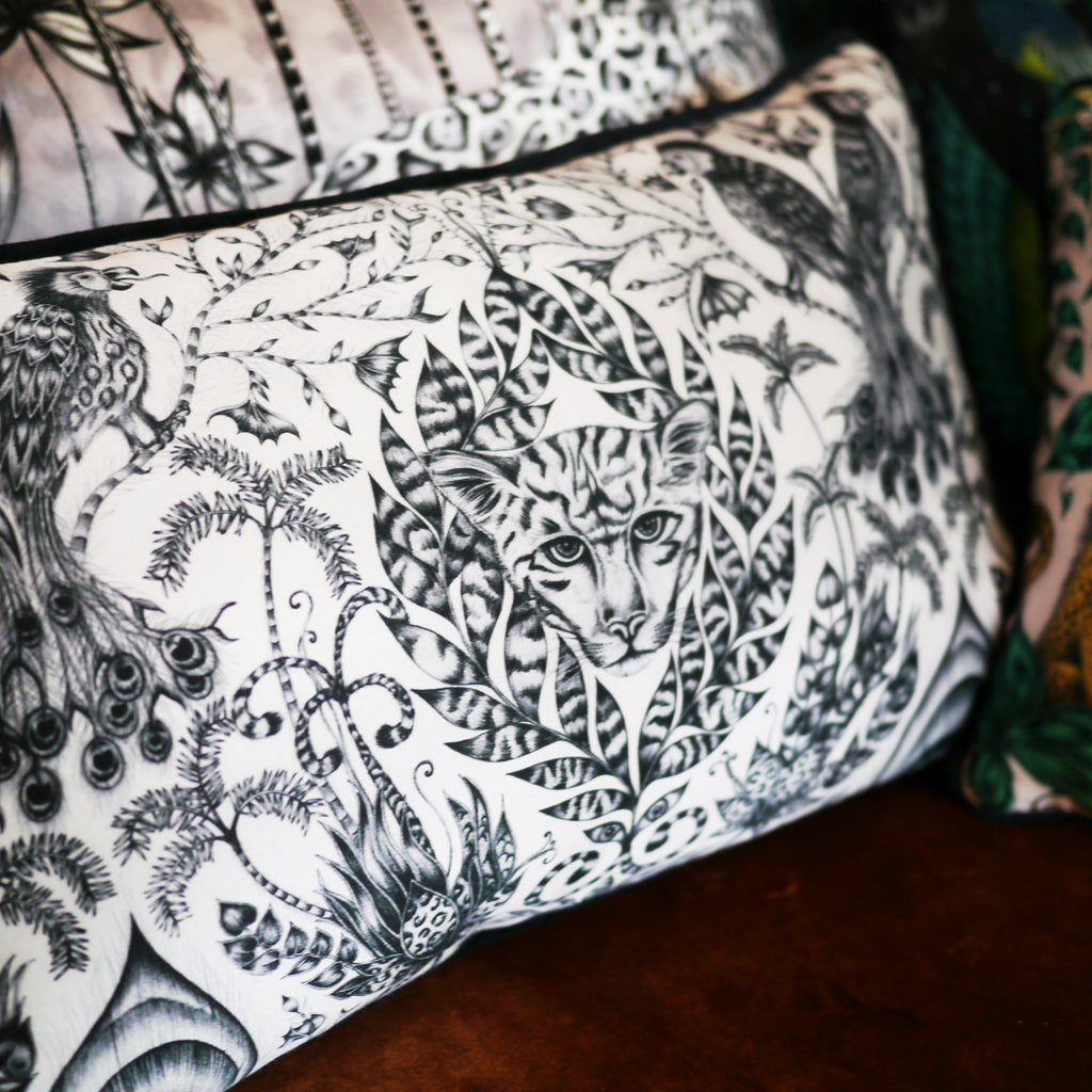 Homeware treats in the form of luxurious silk and cotton blend cushions, designed by Emma J Shipley