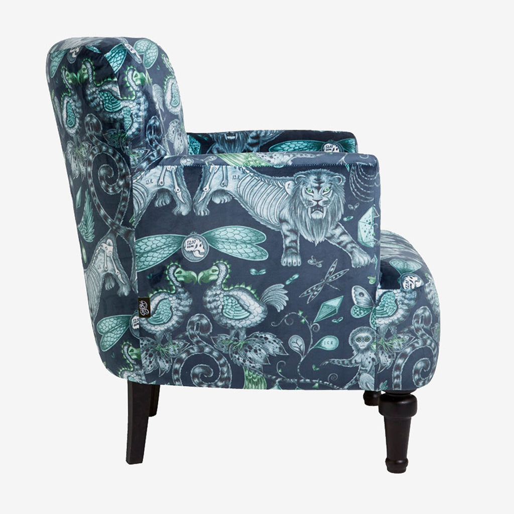 Side view of the Extinct Dalston Chair, upholstered with our best selling velvet from the Animalia range