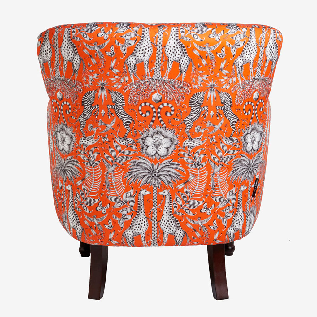 Back view of the Kruger Dalston Chair, covered in Emma J Shipley hand drawn fabric, embracing the magic of an African safari trip