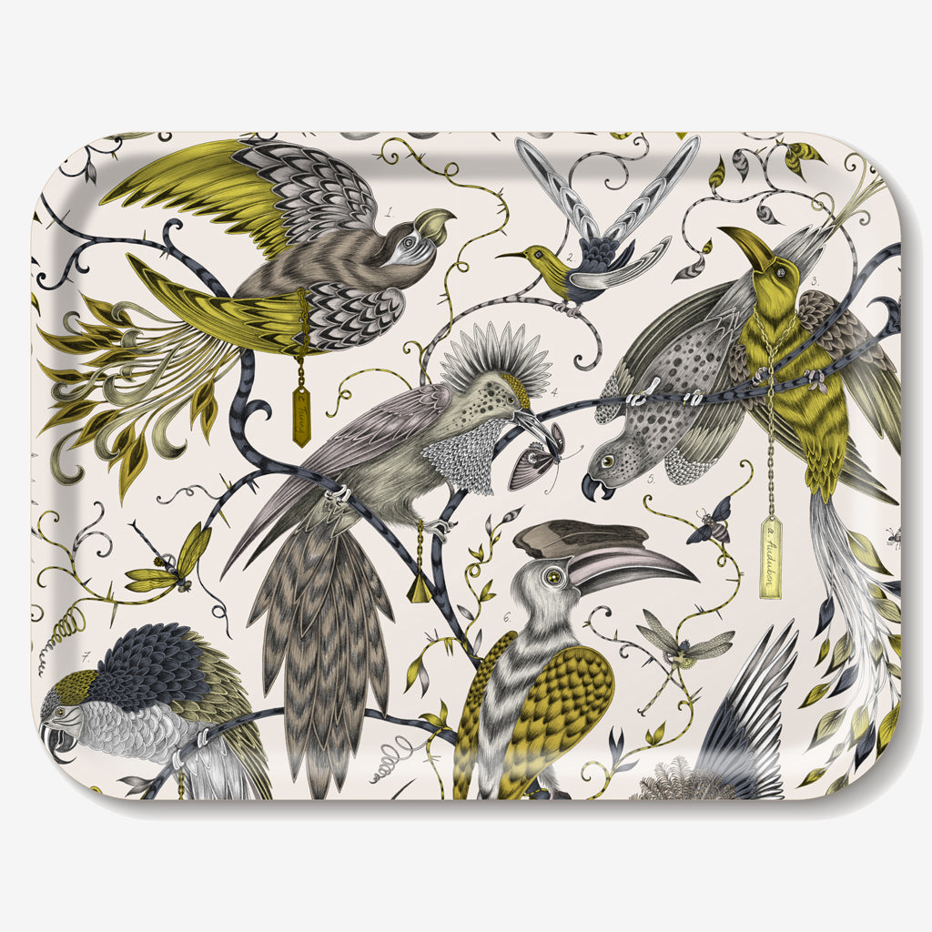 The gold Audubon Tray features a selection of majestic birds in flight, hand-drawn by designer Emma J Shipley