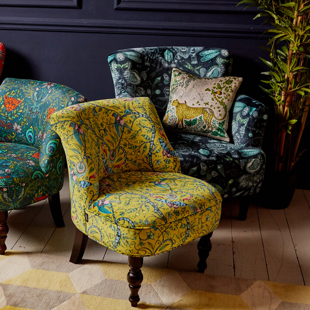 The Extinct Dalston Chair featured here with other designs from the collection, hand drawn by Emma J Shipley