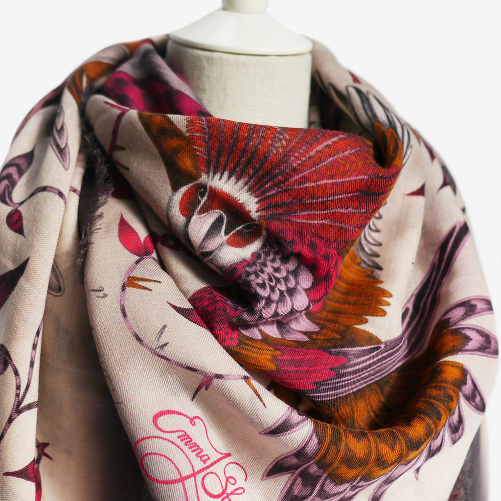 How to tie and wear a wool scarf, by luxury designer and illustrator Emma J Shipley.
