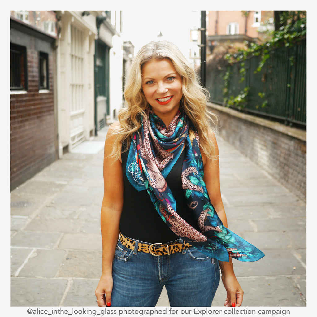 camoaign shot for the new explorer collection of the Zambezi silk chiffon scarf in navy
