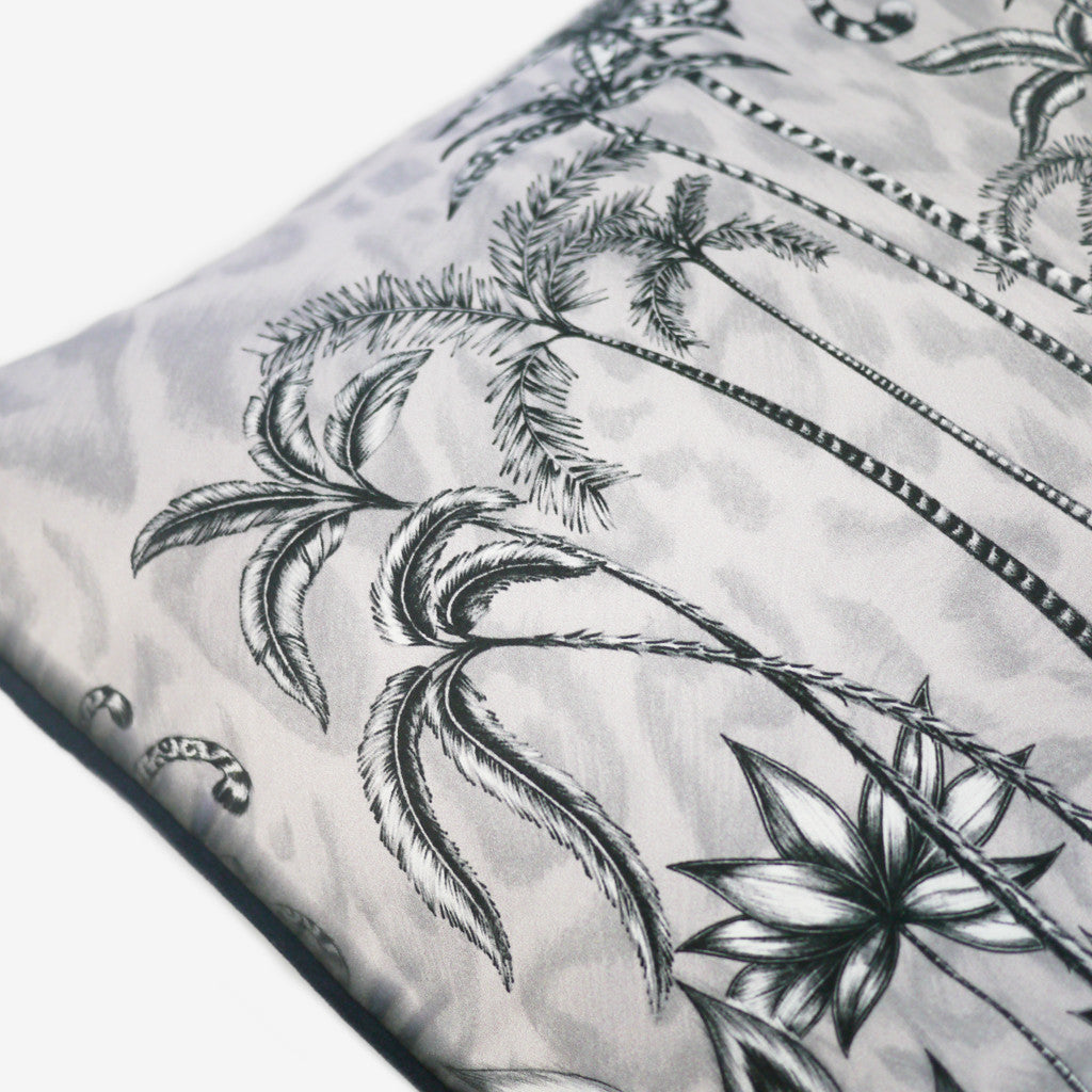 The hand-drawn design is transferred onto an exquisite silk and cotton blended cushion, with an opulent black velvet backing.