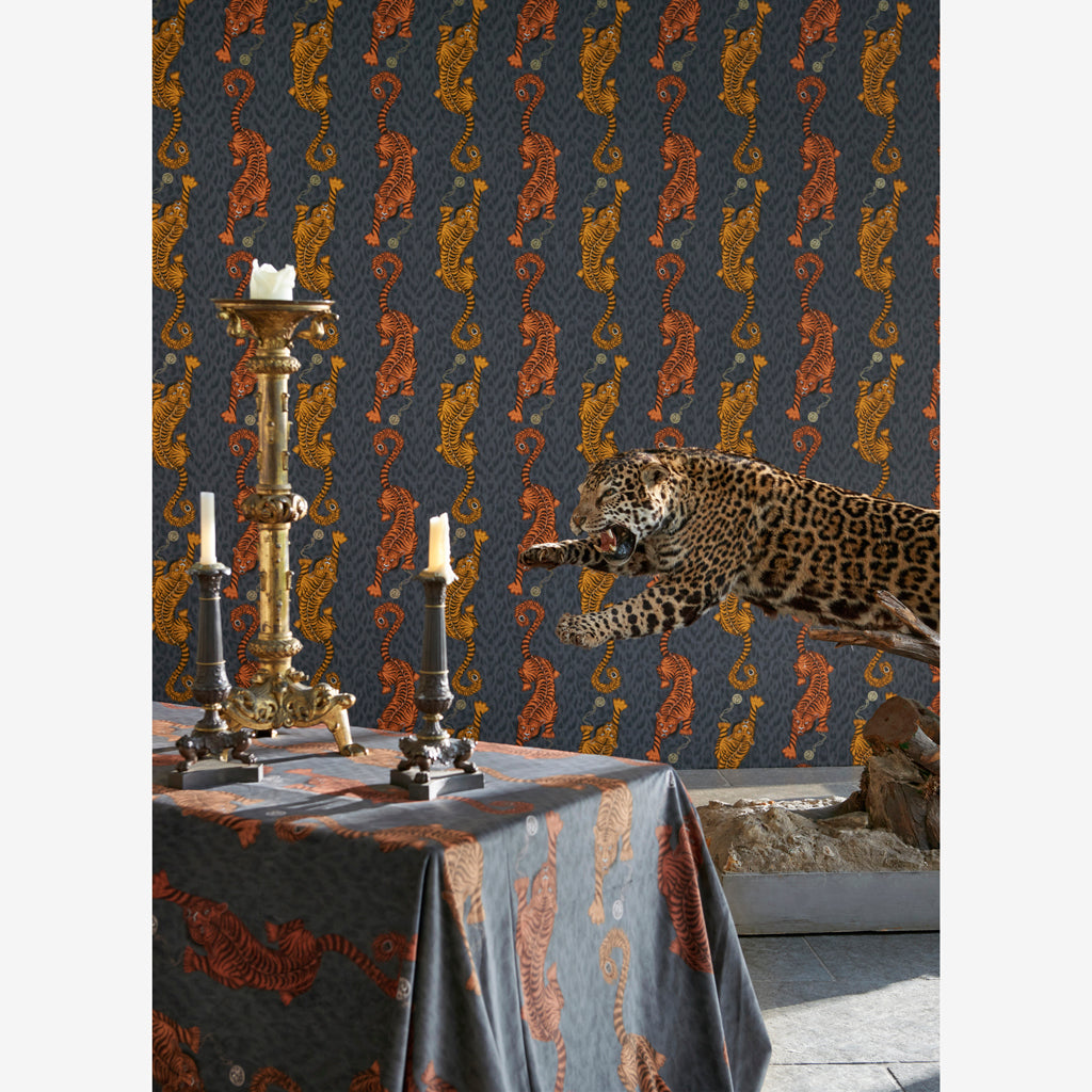 Campaign imagery of The Tigris design on the Animalia fabric by Emma J Shipley x Clarke & Clarke