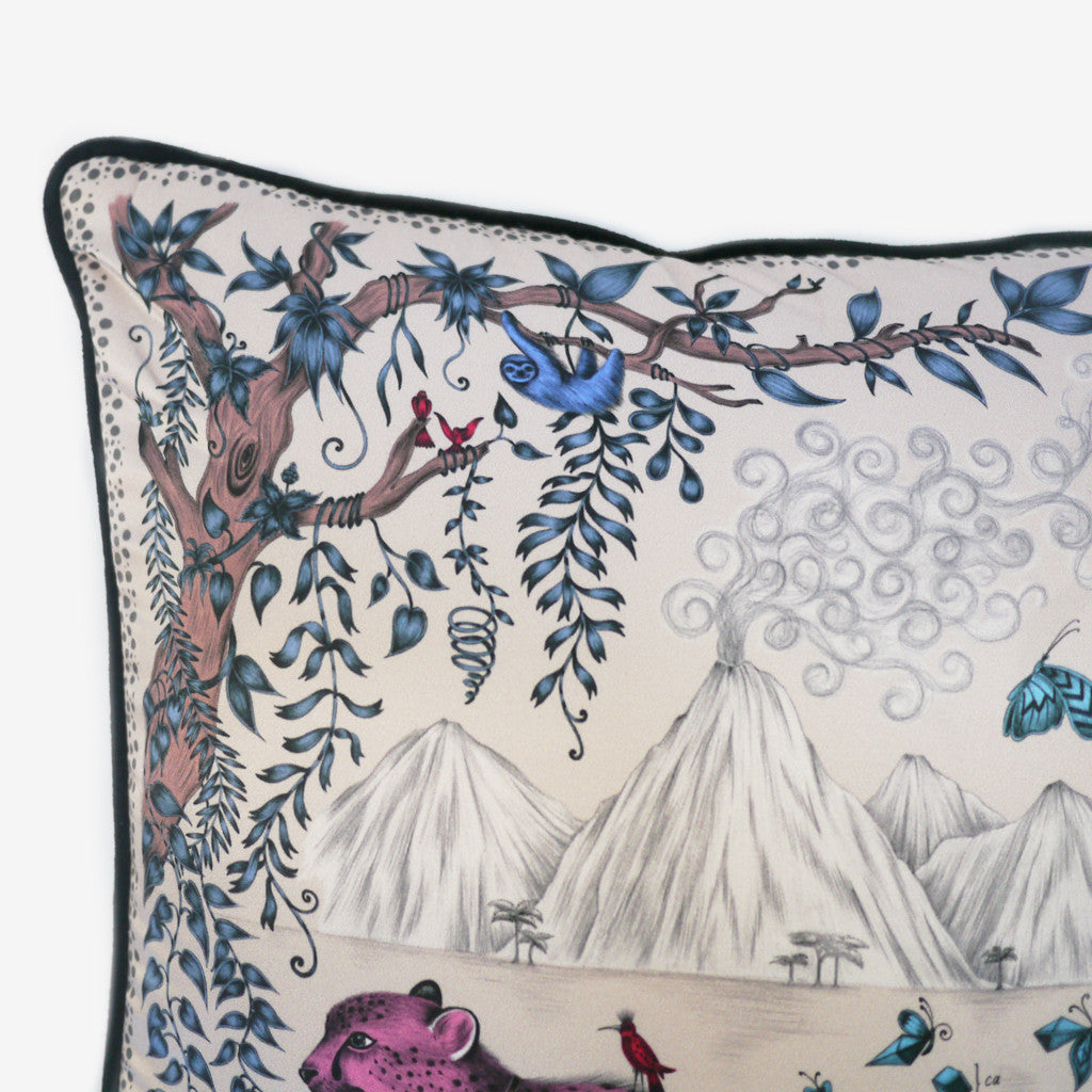 The luxurious hand-drawn design is printed on a exquisite silk and cotton cushion, by Emma J Shipley.