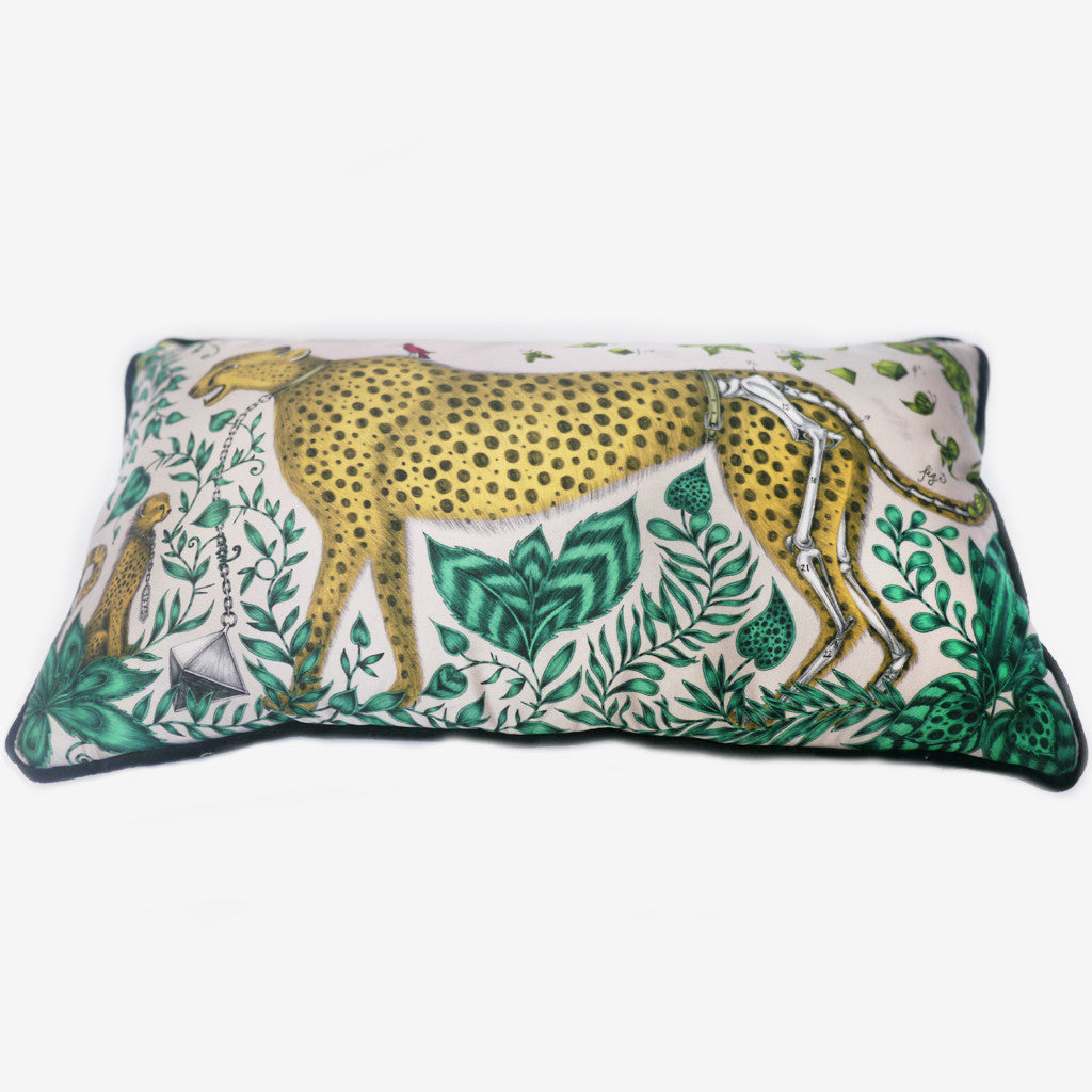 The Cheetah Bolster Cushion features an arresting jungle scene