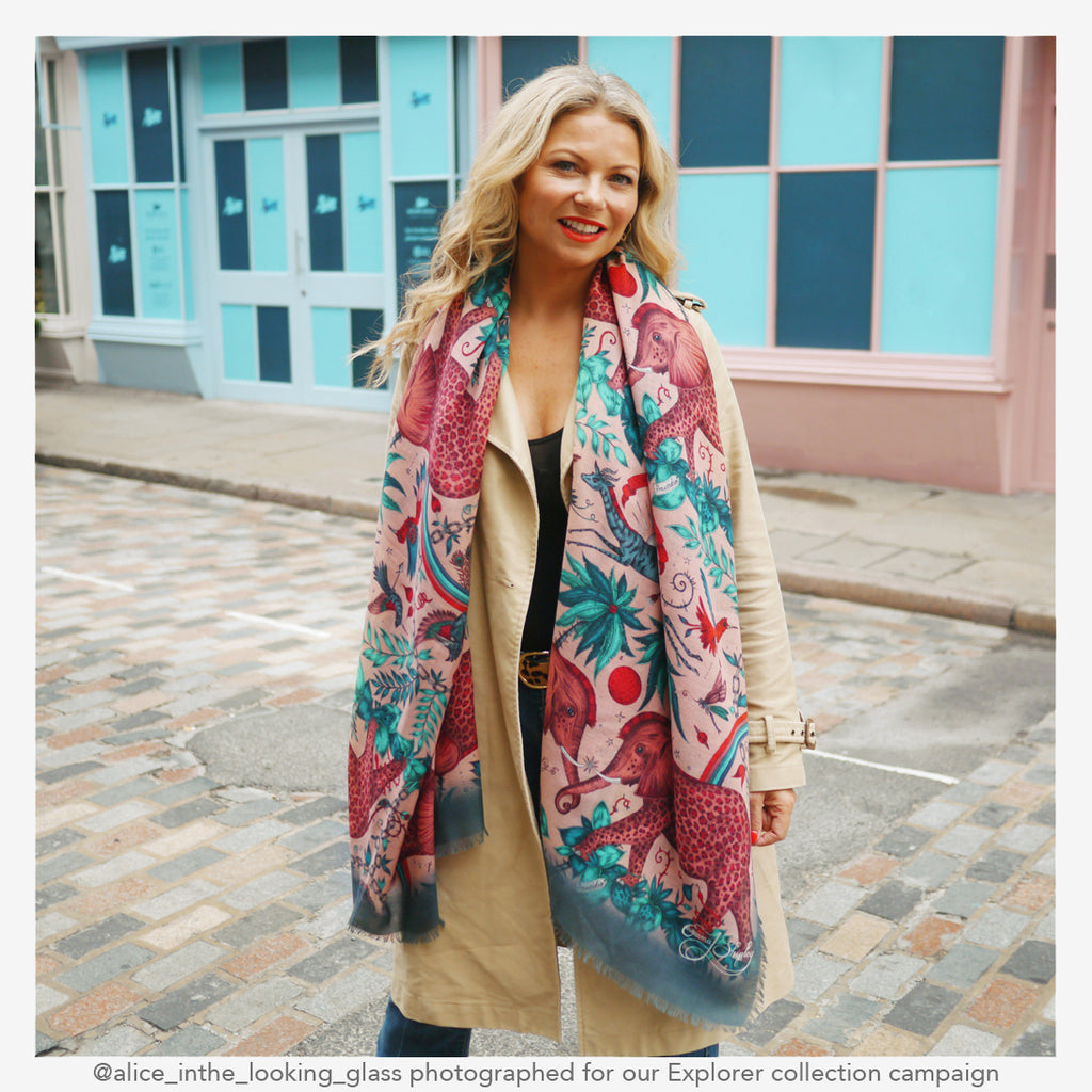 camoaign shoot for the new explorer collection showing off the Zambezi fine wool shawl in pink