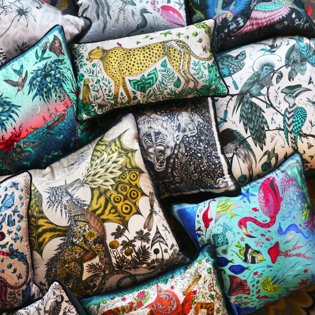 Animalistic cushions designed by Emma J Shipley, fantastical silk creations for interiors