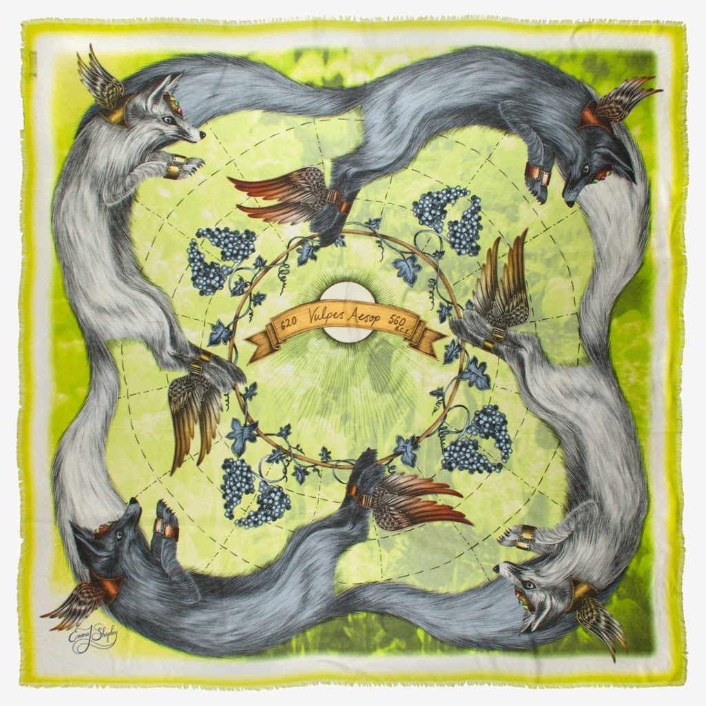 Four beautifully drawn arctic foxes feature in this luxury Lime modal and cashmere blend scarf by luxury designer and artist Emma J Shipley.